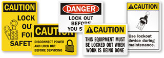 Lock Out Before Maintenance Signs