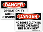 Machine Hazard Signs & Labels