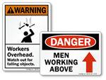 Men Working Above or Below Signs