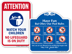 More Pool Rules Signs