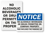 No Alcoholic Beverages Allowed Signs | No Alcohol Beyond This Point
