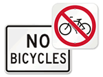 No Bicycles Allowed Signs