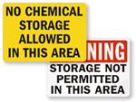 No Chemical Storage Signs