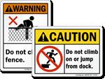 ANSI No Climb Signs