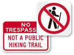 No Hiking Signs