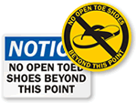 No Open Toed Shoes Signs