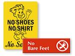 No Shoes / No Service Signs