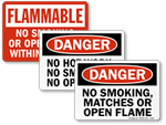No Smoking, No Matches, No Open Flames Signs