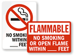 Custom No Smoking Within _ Feet Signs