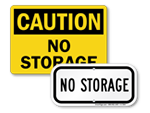 No Storage Signs