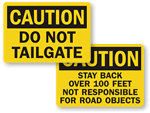 No Tailgating Signs