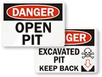 Open Pit Hazard Signs