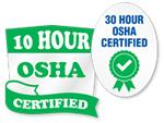 OSHA 10 and 30 Hour Trained Stickers