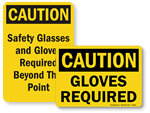 OSHA Gloves Required Signs