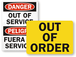 Out of Order & Machine Service Signs