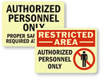 Photoluminescent Authorized Personnel Only Signs