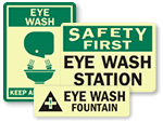 Photoluminescent Eye Wash Signs