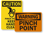 Pinch & Nip Point Warning Signs