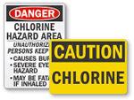 Chlorine Hazard Pool Signs