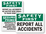 Report All Accidents Signs