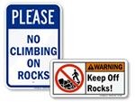 Do Not Climb on Rocks and Rockfall Warning Signs
