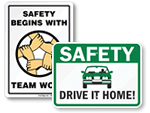 Safety Begins Here Signs