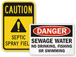 Sewage & Waste Water Signs