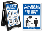 Social Distancing Signs for Beach