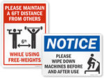 Social Distancing Signs for Gyms and Fitness Centers