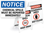 Spill Clean-Up Signs