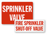 Sprinkler Shut Off Signs