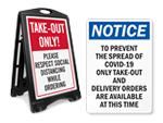 Take Out and Delivery Signs