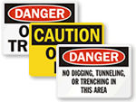 Trench, Pit and Excavation Safety Signs