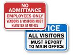 Visitors Must Register Signs