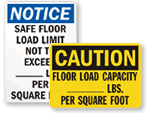 Warehouse Floor Capacity Signs
