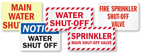 Water Shut-Off Signs and Water Valve Signs