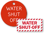 Water Shut-Off Tags & Signs