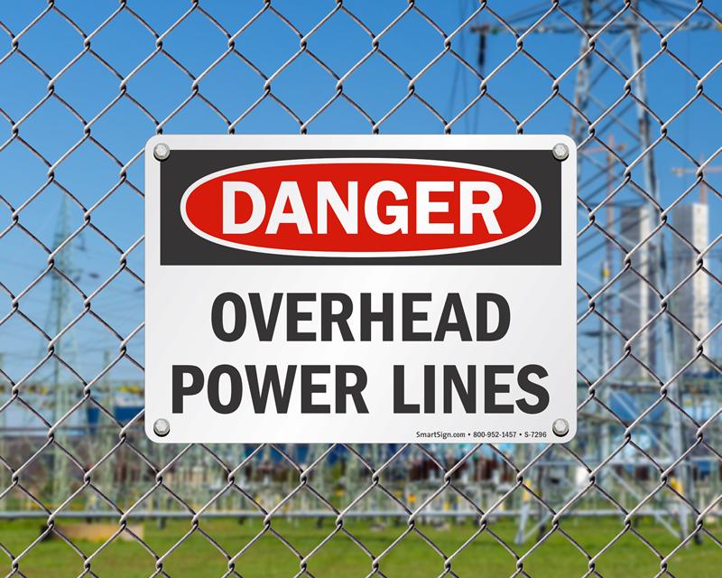 Overhead Power Line : Overhead power line signs danger high voltage