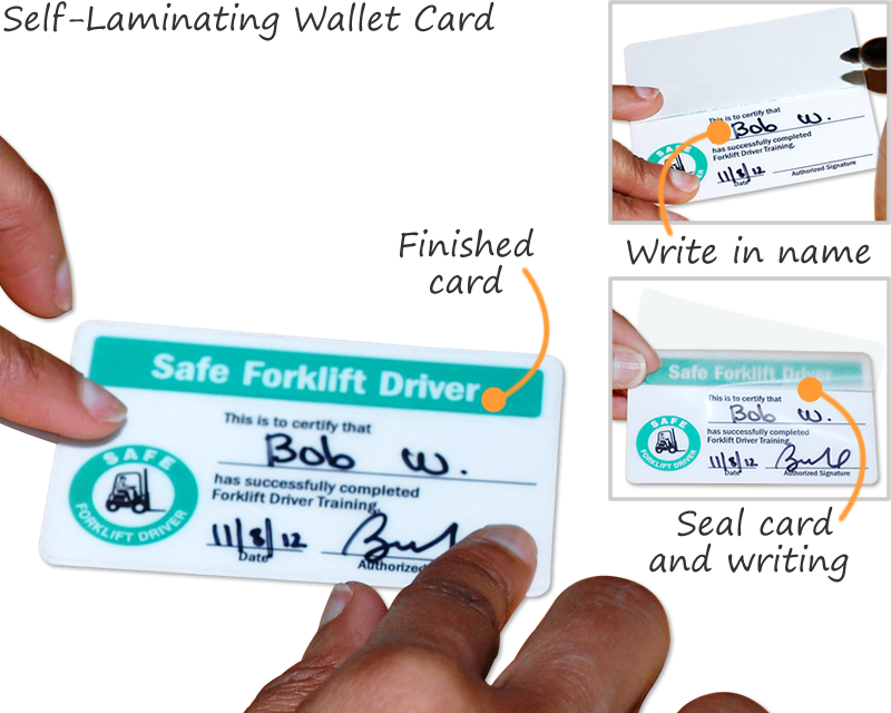 Safety Wallet Cards Self Laminating Certification Cards