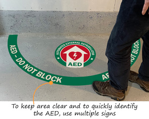 Projecting AED First Aid Floor Decals