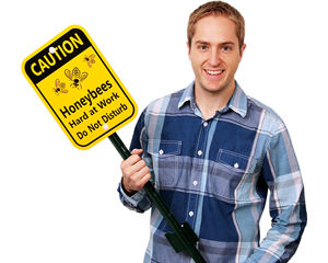 Bee Warning Signs with Stakes