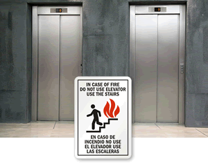 Bilingual In Case of Fire Signs