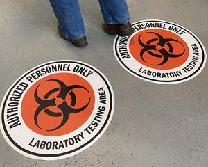 Biohazard warning decals for floor
