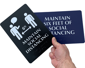 Braille social distancing signs in a range of colors