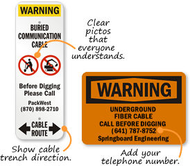 Buried Fiber Optic Cable Signs