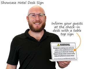 California Prop 65 Check-in Desk Hotel Sign