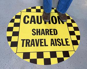 Shared aisle floor sign