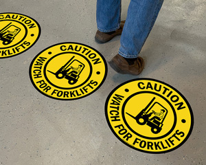 Caution watch out for forklift floor signs