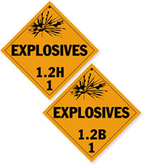 Class 1.2 - Explosive Placards