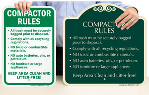 Compactor Safety Signs